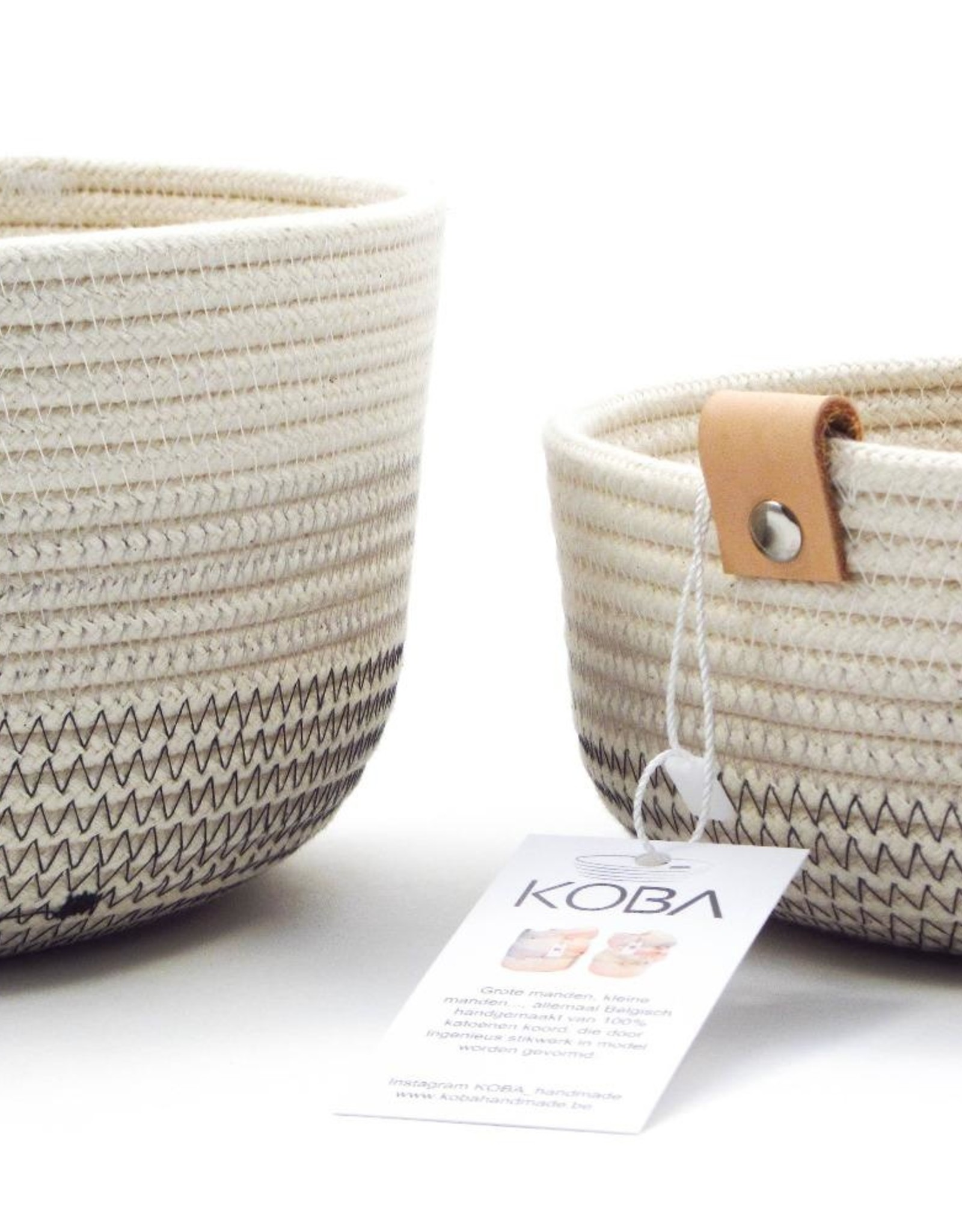 Koba Handmade Bowl Medium Low-shades of grey 25x7cm