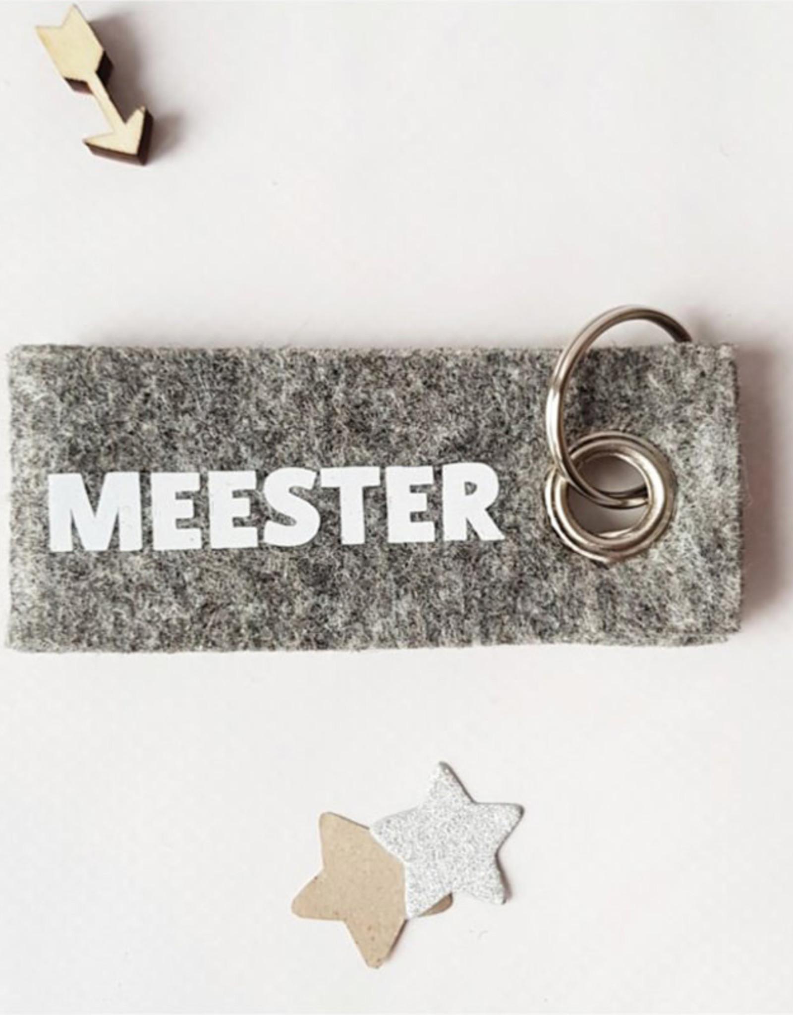 Sleutelhanger Meester-grijs vilt