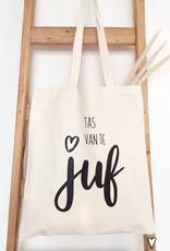 Tote Bag Tas van de juf-naturel