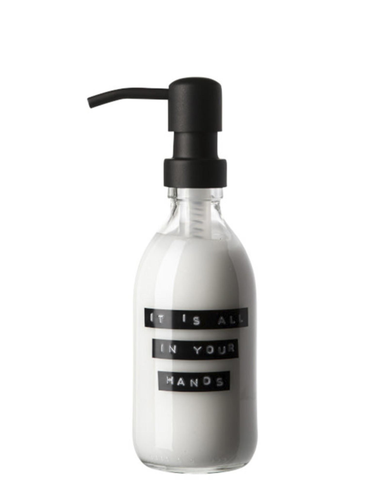 Wellmark Handcrème helder glas /zwarte pomp 250ml-it's all in your hands