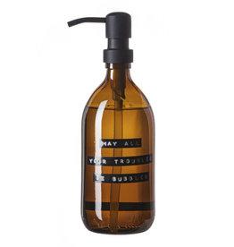 Wellmark Handzeep bruin glas /zwarte pomp 500ml-may all your troubles be bubbles
