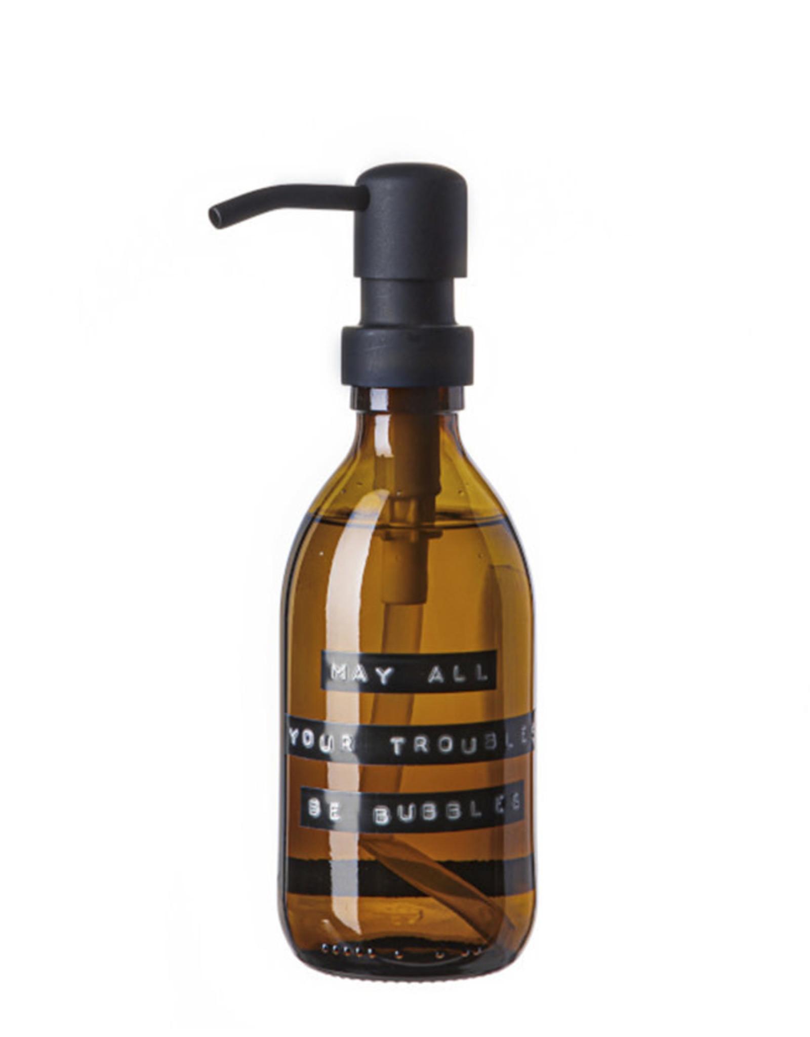Wellmark Handzeep bruin glas /zwarte pomp 250ml-may all your troubles be bubbles