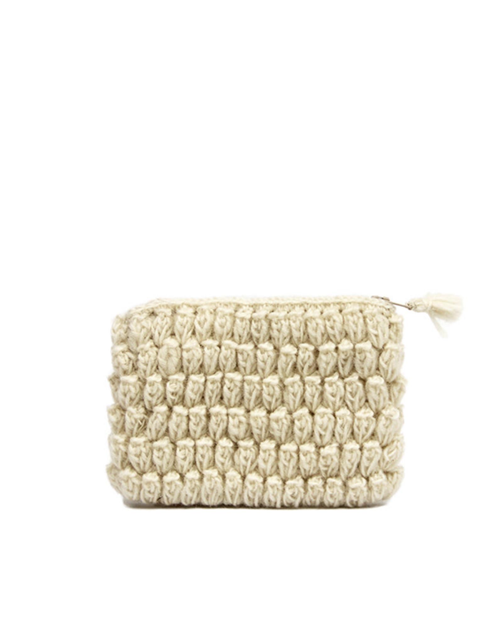 Anna Nera Wallet Crochet S 14x10cm-white