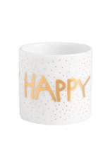 Räder Mini Theelichthouder Happy Birthday-white/gold