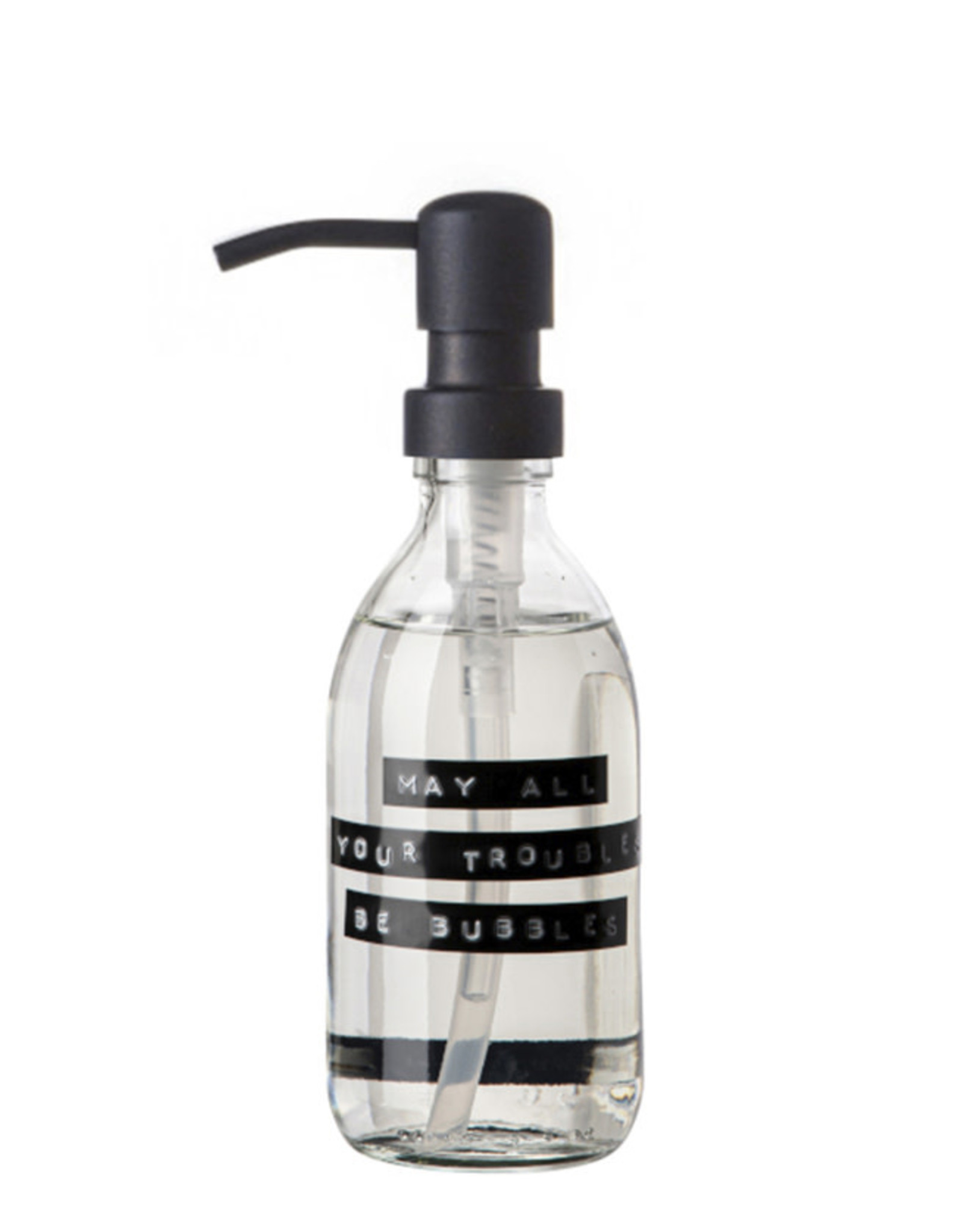 Wellmark Handzeep helder glas /zwarte pomp 250ml-may all your troubles be bubbles