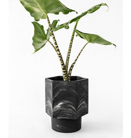 House Raccoon Hapi Self Watering Pot-black marble