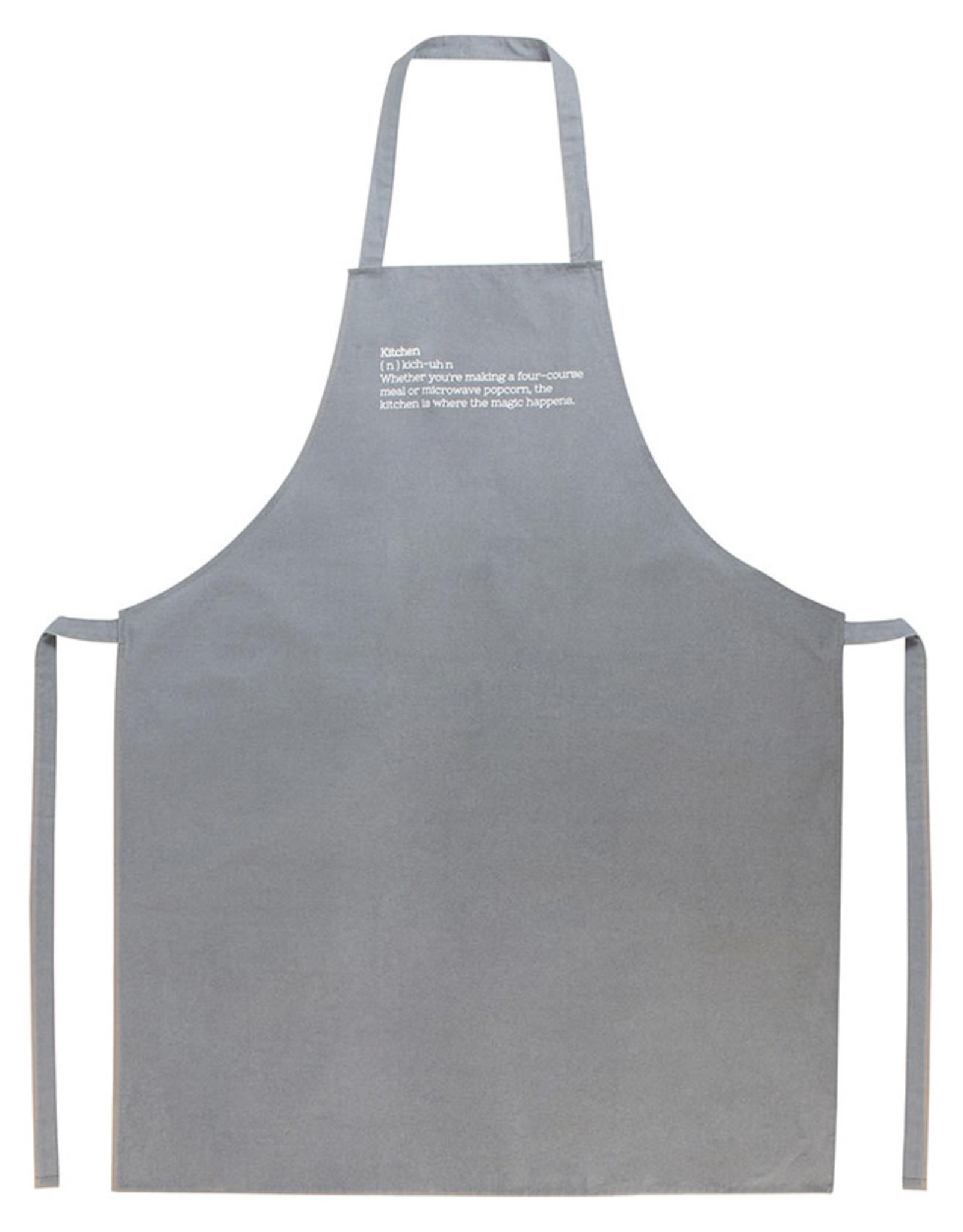 Keukenschort katoen met tekst-grijs