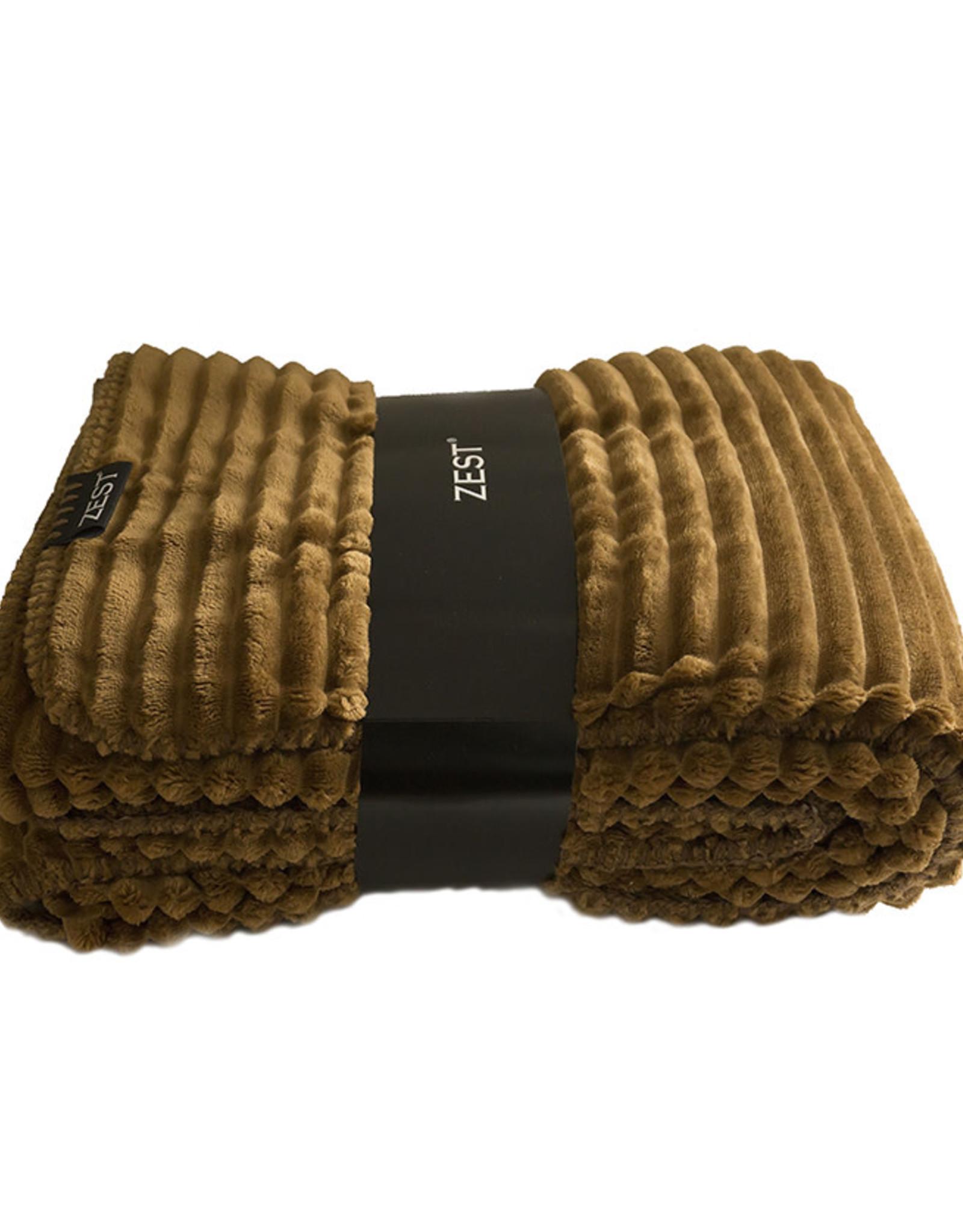 Fleece Plaid Rib 125x150cm-walnoot