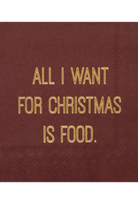 Räder Servet 25x25cm-All I want for Christmas is food