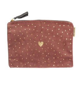 Cosmetic Bag Velvet Heart-roze