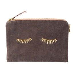 Cosmetic Bag Velvet Sleepy Eyes 22 x 15cm-taupe