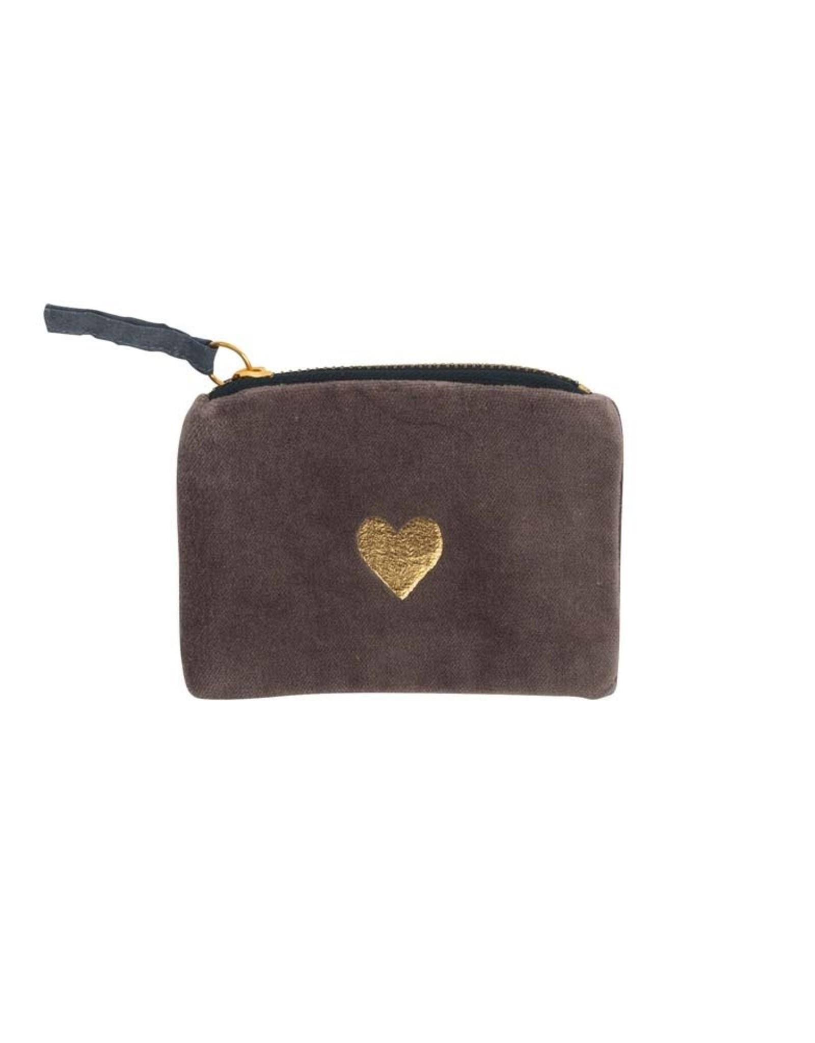 Wallet Velvet Heart-brown