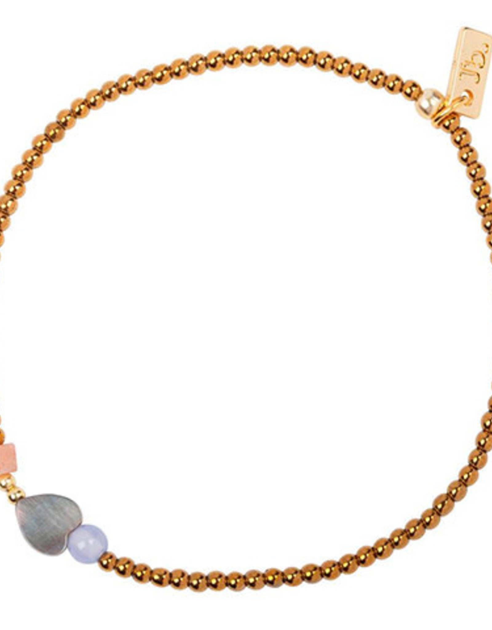 Jules Bean Armband Collectabean XL Sunny-hematiet/pearl/chalcedoon/sunstone