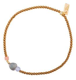 Jules Bean Armband Collectabean XL Sunny-hematiet/pearl/chalcedoon/sunstone