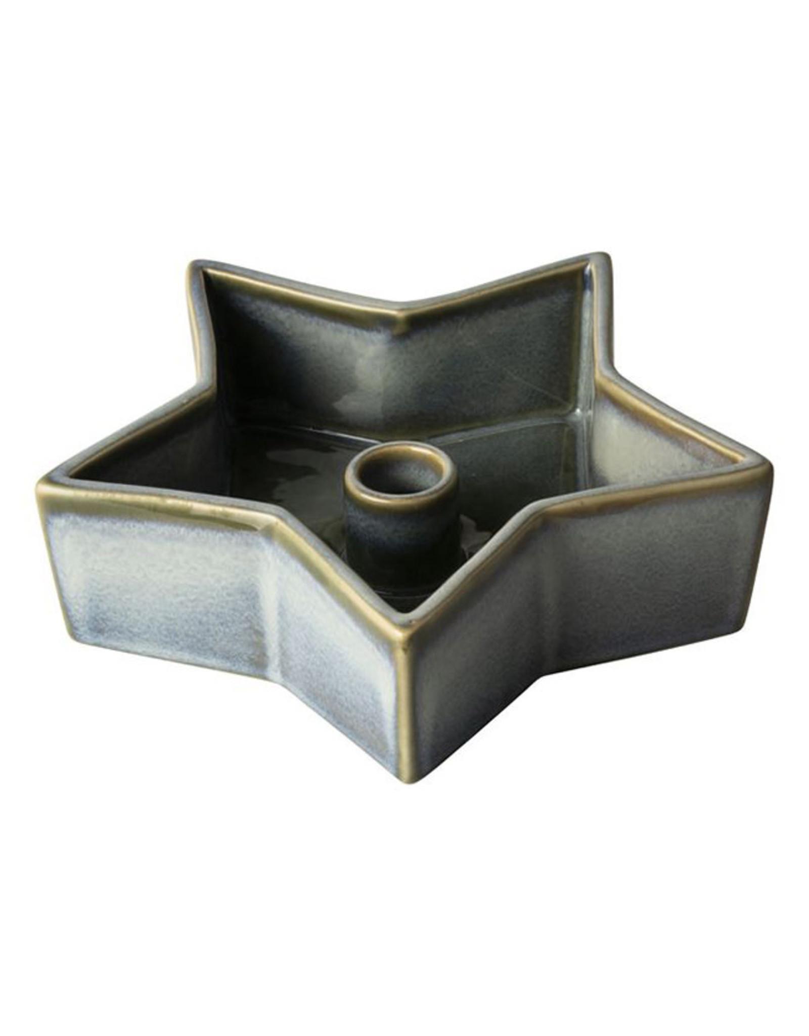 Dinerkaarsenhouder Ster ø17,1cm-grijs