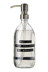 Wellmark Handzeep helder glas /messing pomp 500ml-may all your troubles be bubbles