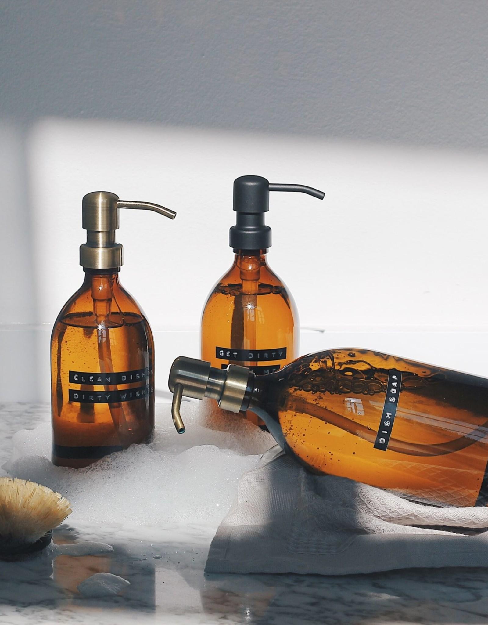 Wellmark Afwasmiddel bruin glas /messing pomp 500ml-dish soap