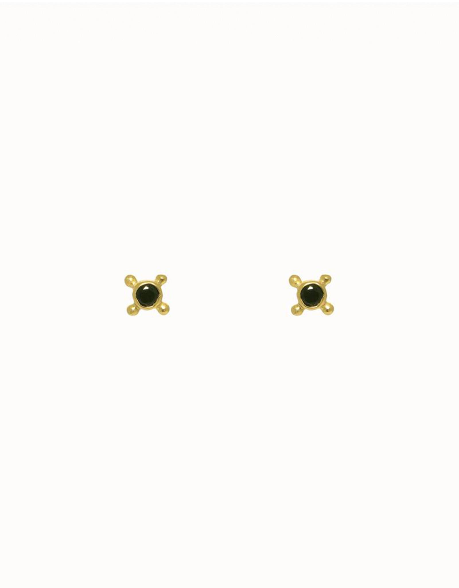 Flawed Indulgence Studs-gold/black