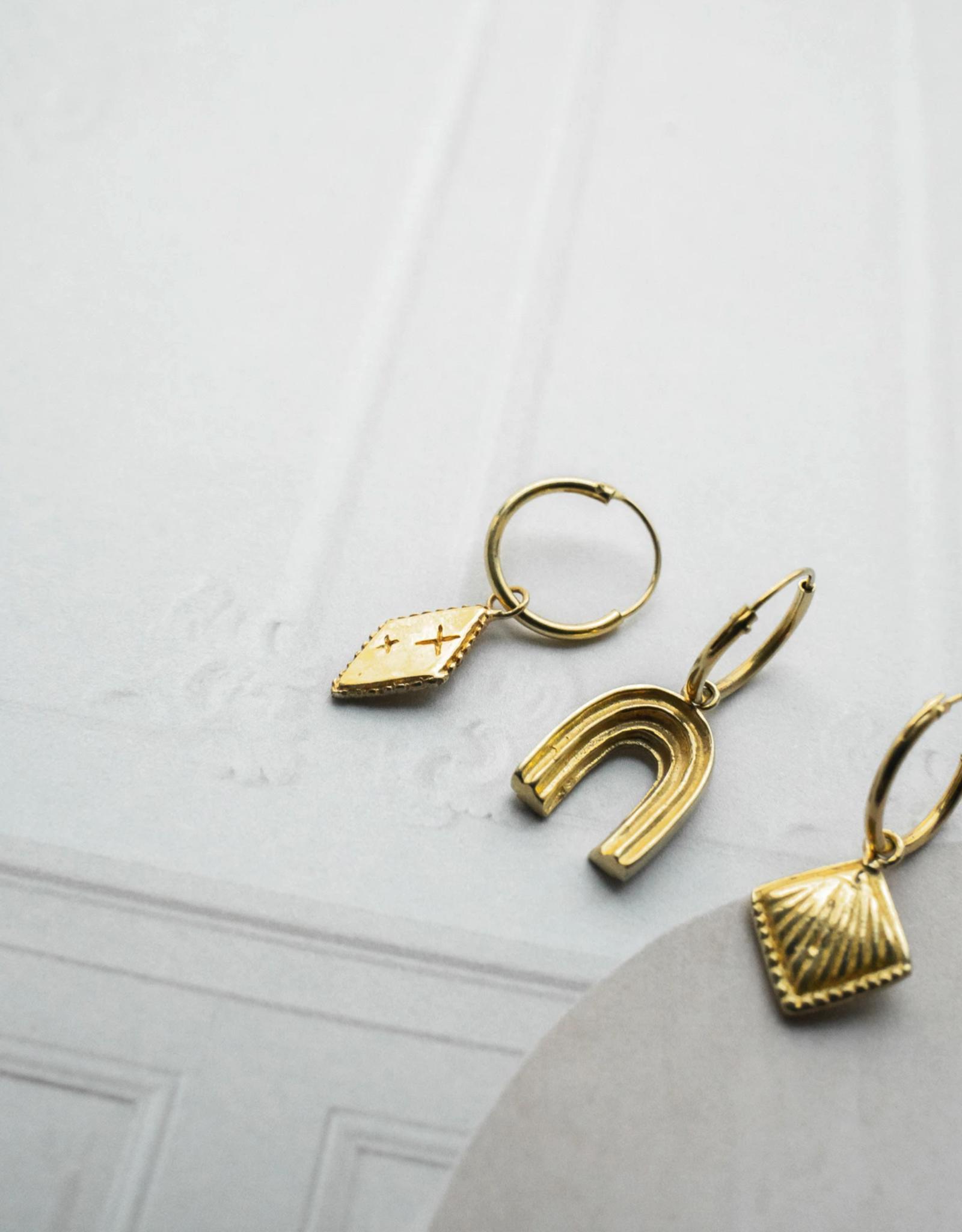 Flawed Oorbel Single Endless Arch Hoop-gold