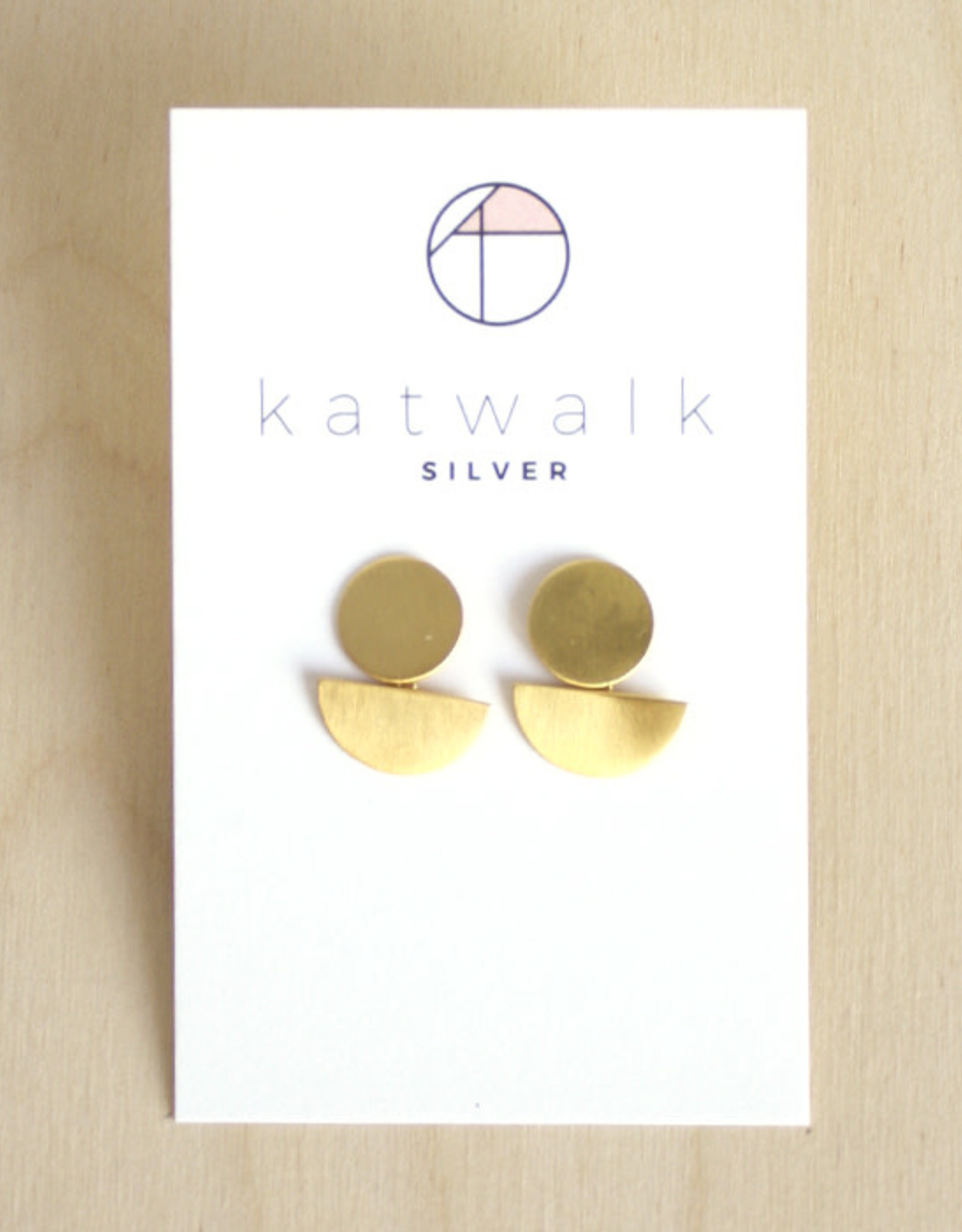 Katwalk Silver Oorbellen Dangle Half Moon-gold
