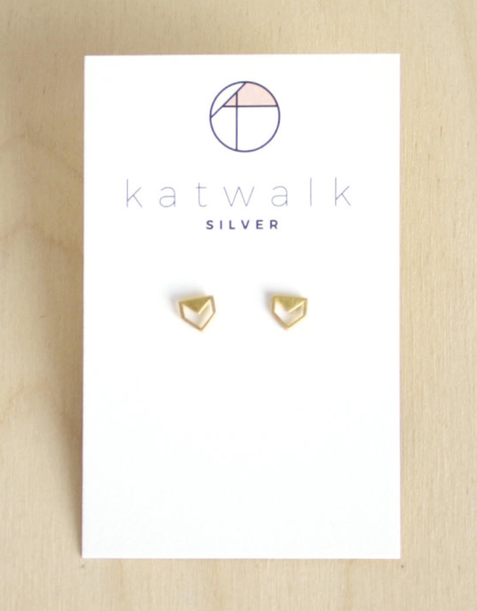 Katwalk Silver Oorbellen Studs Arrow Open-gold