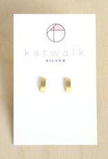 Katwalk Silver Oorbellen Studs Bar Wide-gold