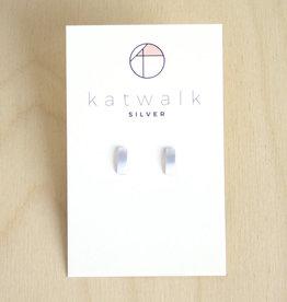 Katwalk Silver Oorbellen Studs Bar Wide-silver