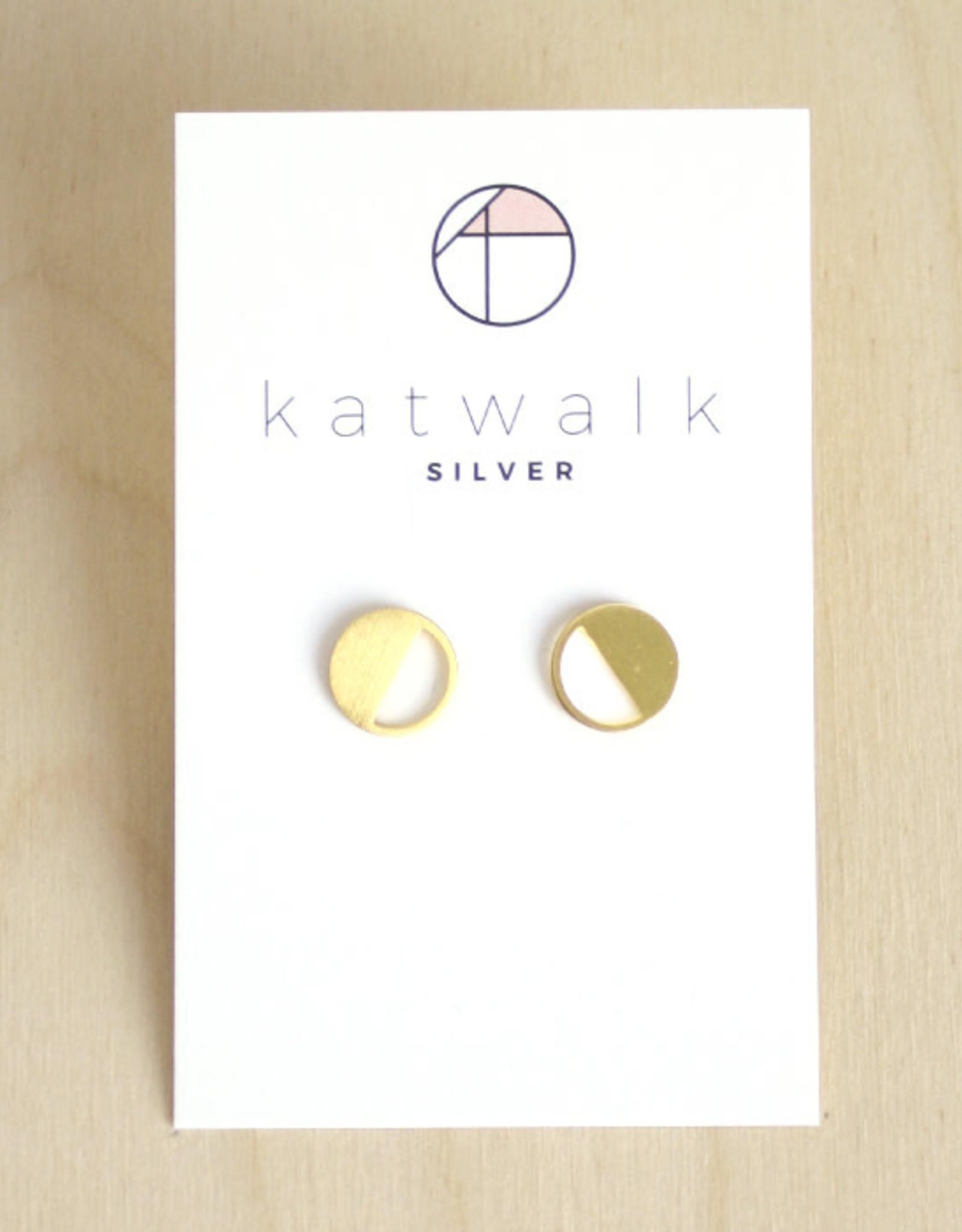 Katwalk Silver Oorbellen Studs Circle Half Open-gold