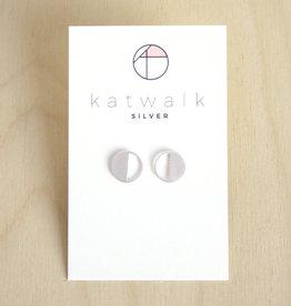 Katwalk Silver Oorbellen Studs Circle Half Open-silver