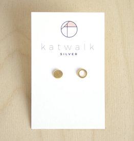 Katwalk Silver Oorbellen Studs Circle Open Full-gold