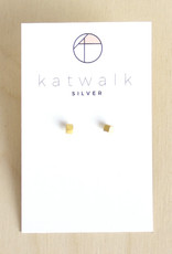Katwalk Silver Oorbellen Studs Cube-gold