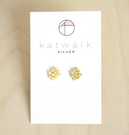 Katwalk Silver Oorbellen Studs Dots Connect-gold