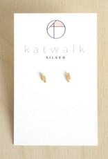 Katwalk Silver Oorbellen Studs Double Line-gold