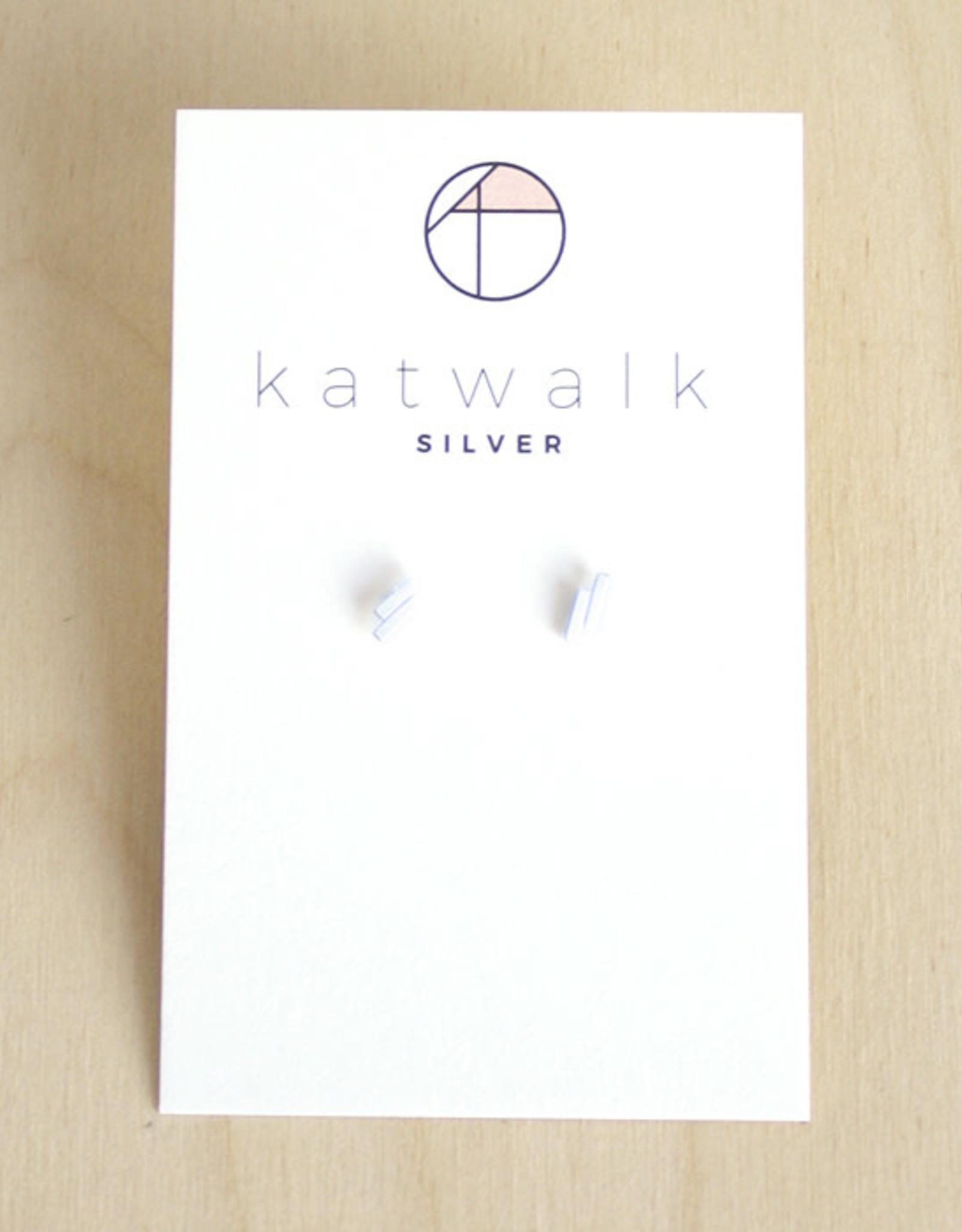 Katwalk Silver Oorbellen Studs Double Line-silver