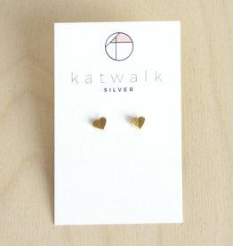 Katwalk Silver Oorbellen Studs Heart Origami-gold