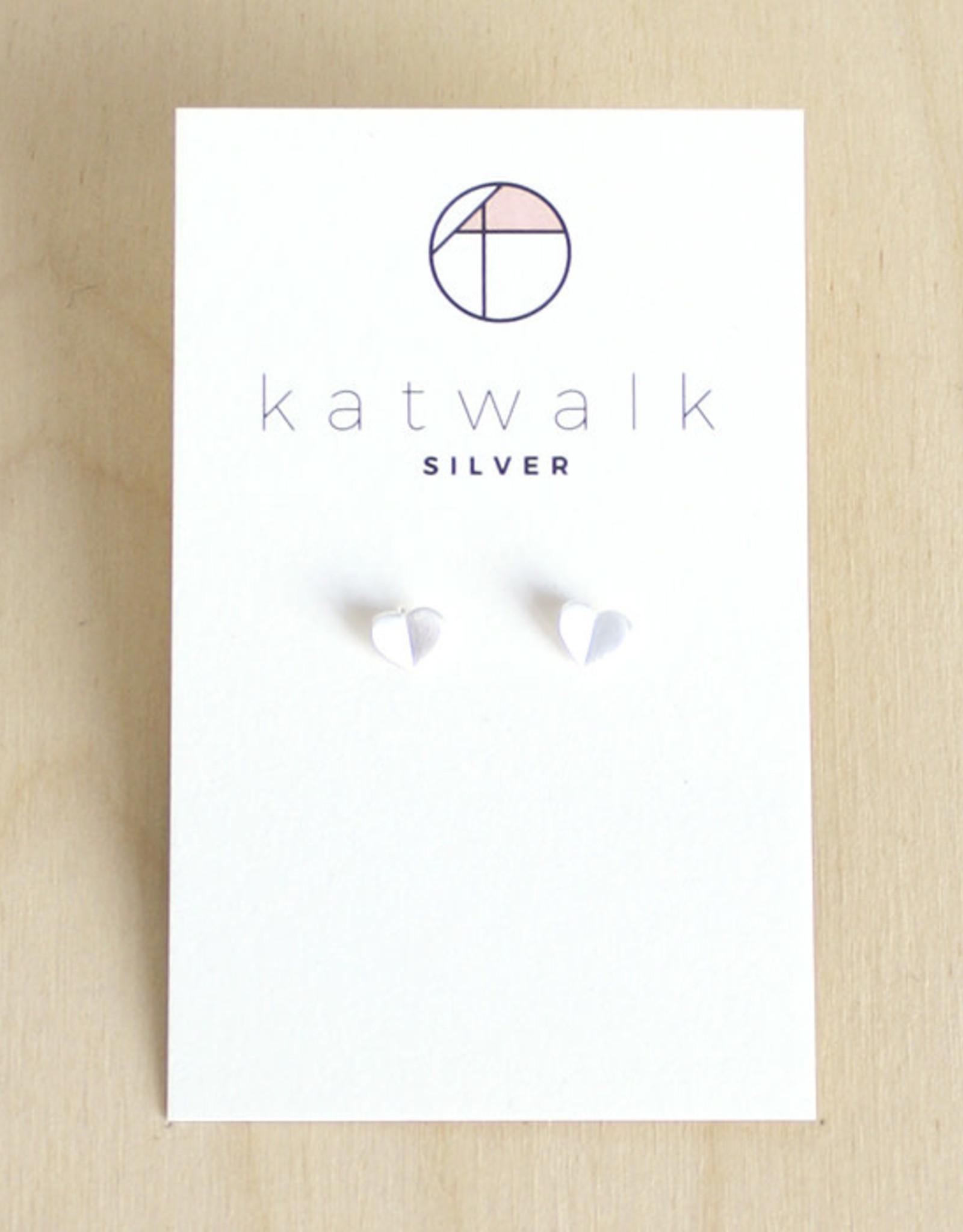 Katwalk Silver Oorbellen Studs Heart Origami-silver