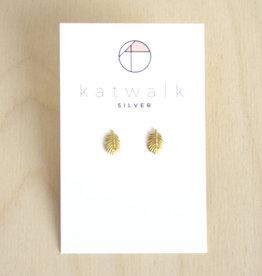 Katwalk Silver Oorbellen Studs Leaf-gold