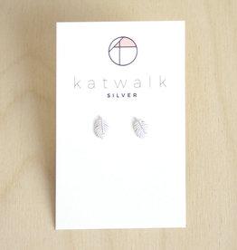 Katwalk Silver Oorbellen Studs Leaf-silver