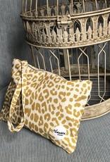 Happy Bag Clutch-leopard mustard