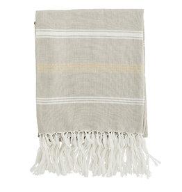 Madam Stoltz Handdoek Hammam Striped Cotton-beige-white, glitter gold