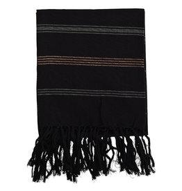 Madam Stoltz Handdoek Hammam Striped Cotton-black, grey, glitter copper
