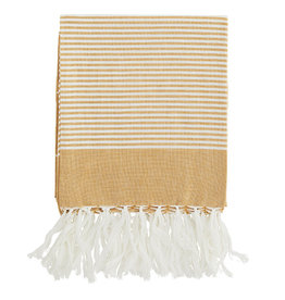 Madam Stoltz Handdoek Hammam Striped Cotton-honey white
