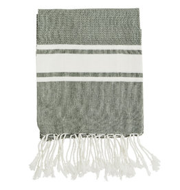 Madam Stoltz Handdoek Hammam Striped Cotton-olive white