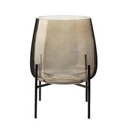 Vaas met standaard ø18cm-beige/glas