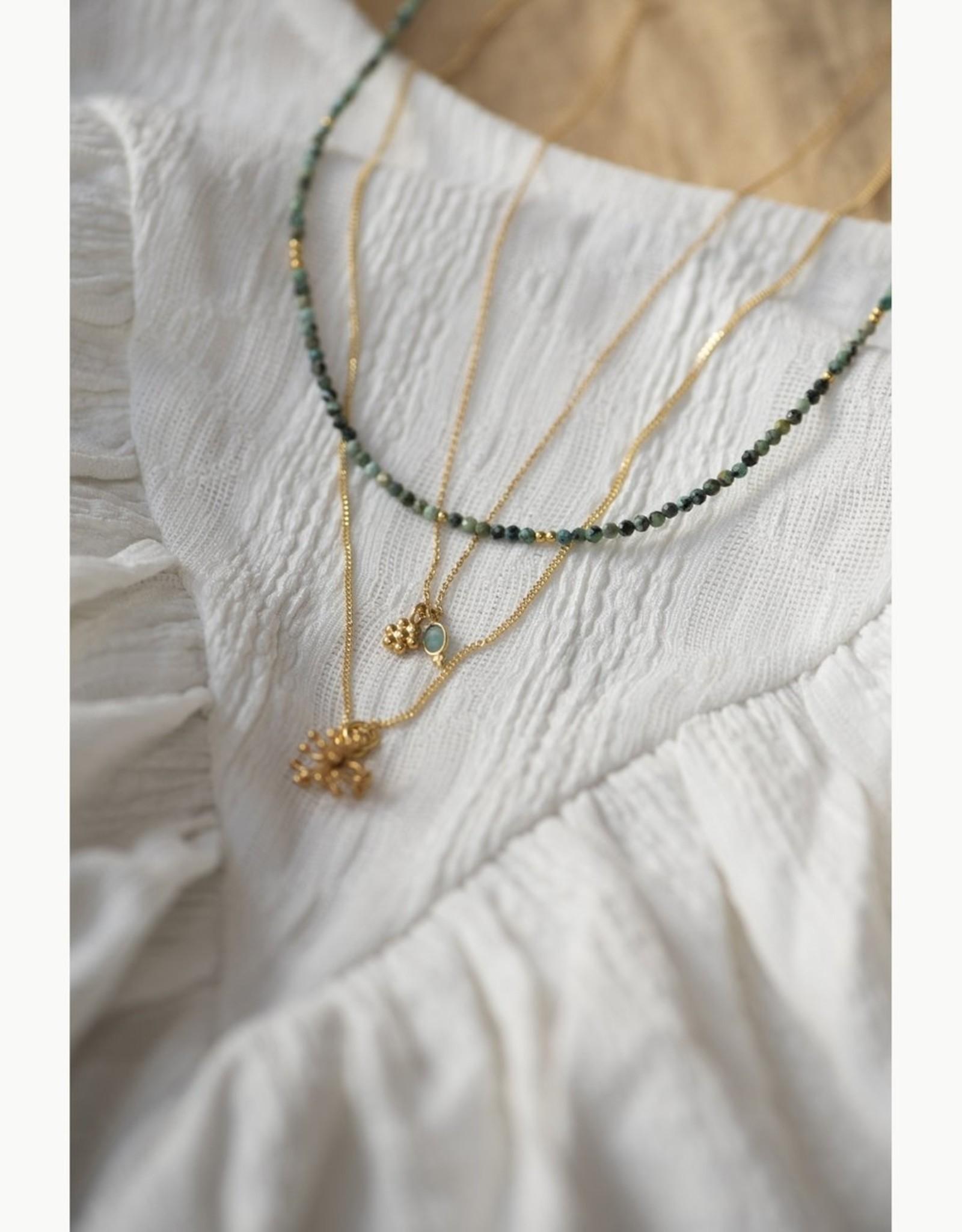 Jules Bean Ketting kort Jules Bean Feline-goud verguld/Amazonite/flower