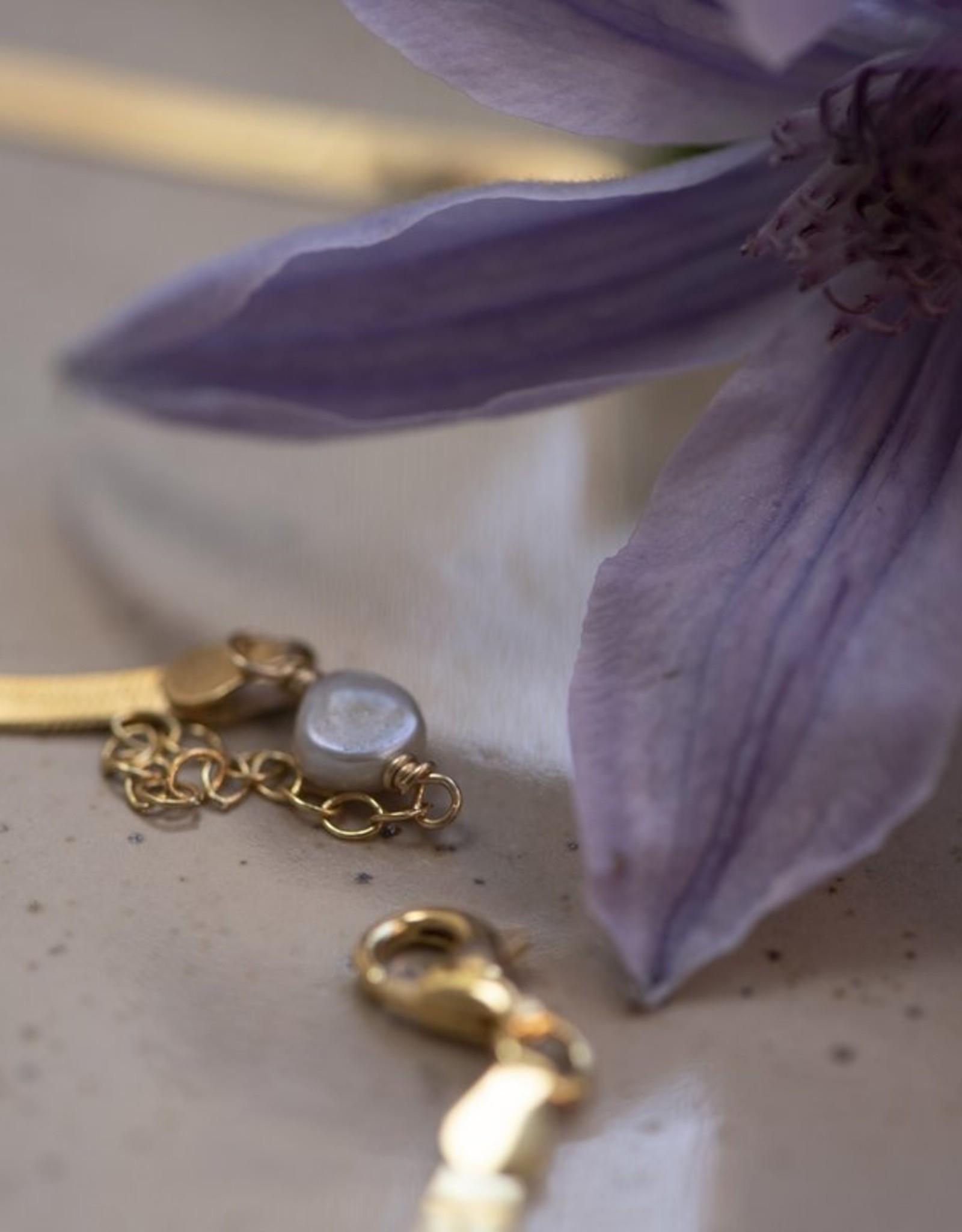Jules Bean Ketting kort Jules Bean Leah-goud verguld/pearl