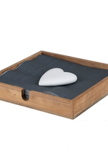 Räder Servethouder Heart 18x18x3cm-wood/stone