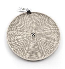 Koba Handmade Plate Round Low-ecru/black 35cm