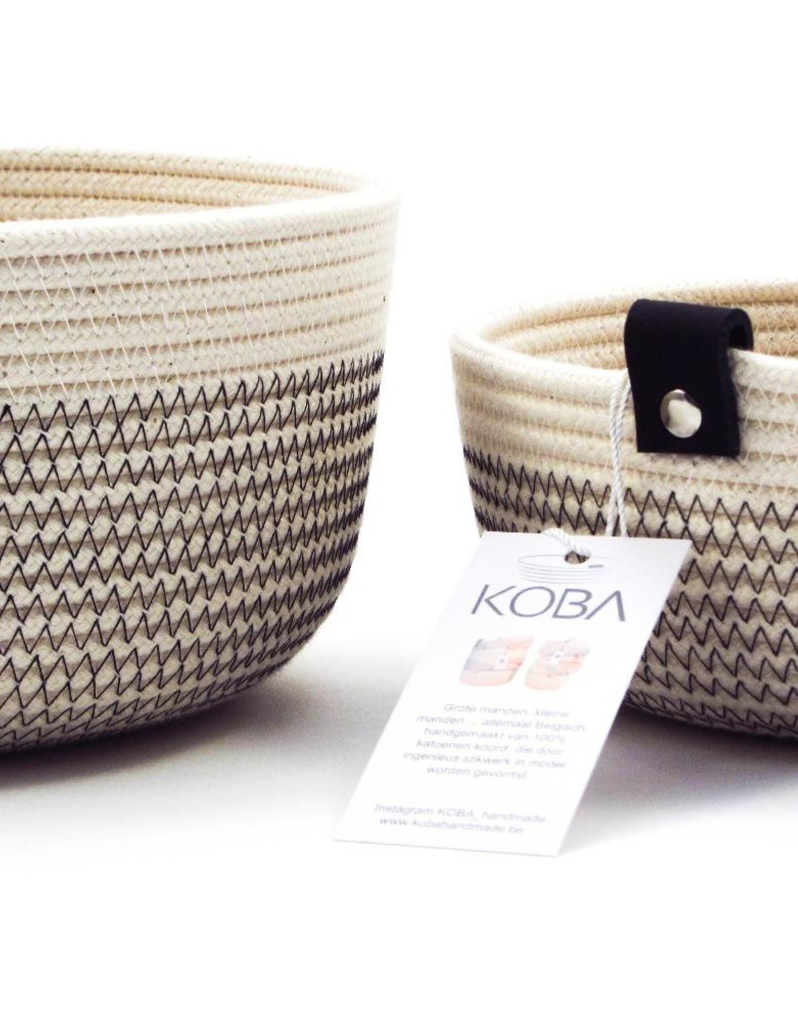 Koba Handmade Bowl Small Low-ecru/black 18x7cm