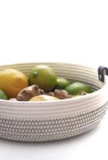 Koba Handmade Bowl Medium Low-ecru/black 25x7cm